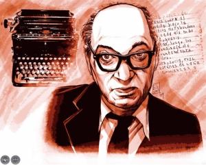 Juan Carlos Onetti escritor caricatura de enzo pertile portalguarani